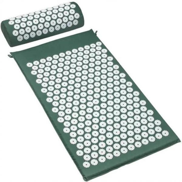 Tapis d'acupuncture avec coussin Vert